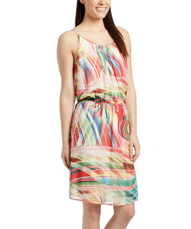 Look what I found on #zulily! Red Brush Abstract Blouson Dress #zulilyfinds