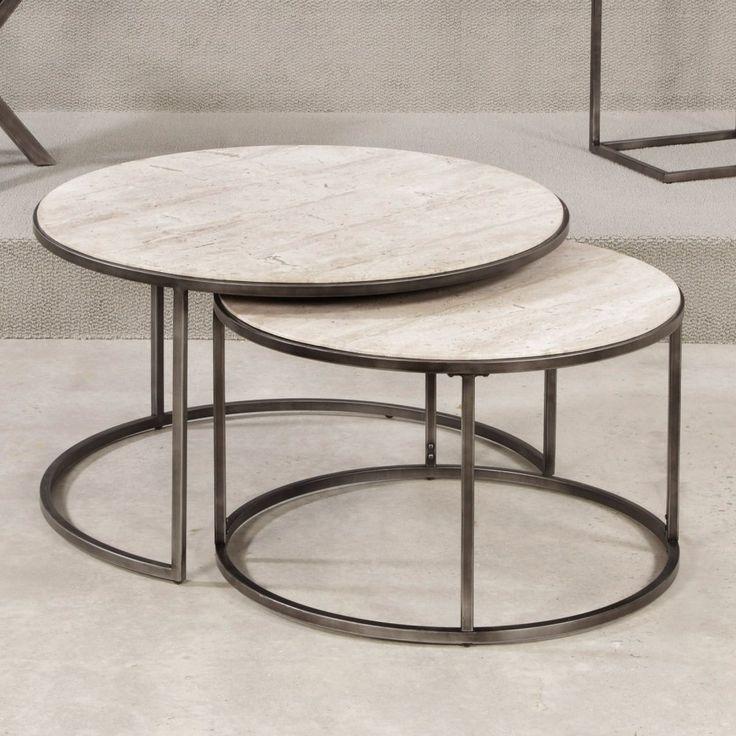 Hammary Modern Basics Round Cocktail Table - Natural Travertine / Textured…