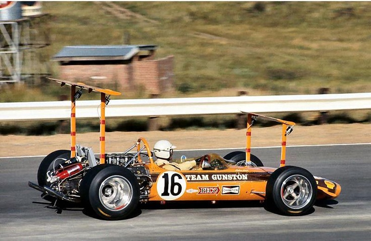 Rhodesian veteran, John Love, here aged 44, in the Team Gunston Lotus 49B-Ford DFV V8 at the 1969 South African GP.