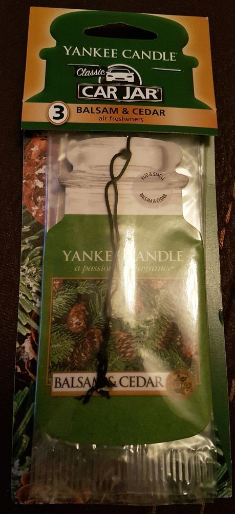 Yankee Candle 3 pack Car Jar Air Freshener Balsam & Cedar Fragranced