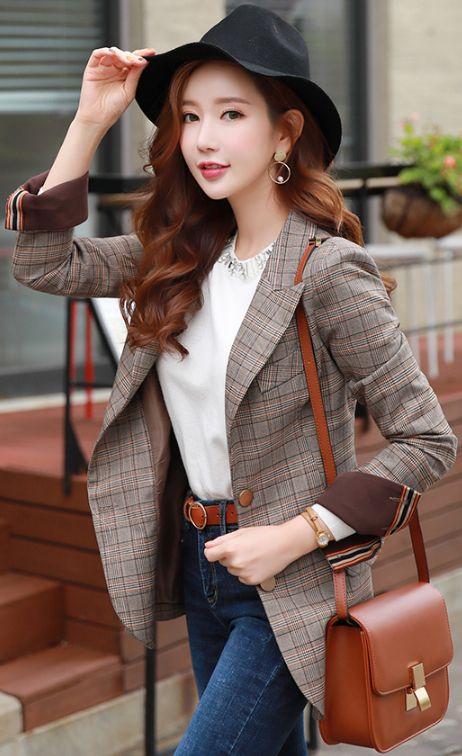 StyleOnme_Check Print Fold-Up Cuff Tailored Jacket #brown #check #jacket #falltrend #koreanfashion #kstyle #kfashion #dailylook #seoul