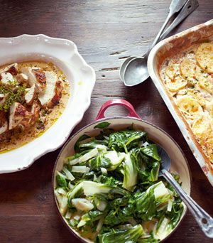 Love Jamie.  30 minutes! Mustard chicken, quick dauphinoise, greens, black forest affogato