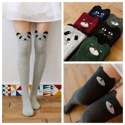 NEW-Cute-Cat-Bear-Panda-3D-Patterned-Knee-Thigh-High-Leg-Warmers-Stocking-Socks