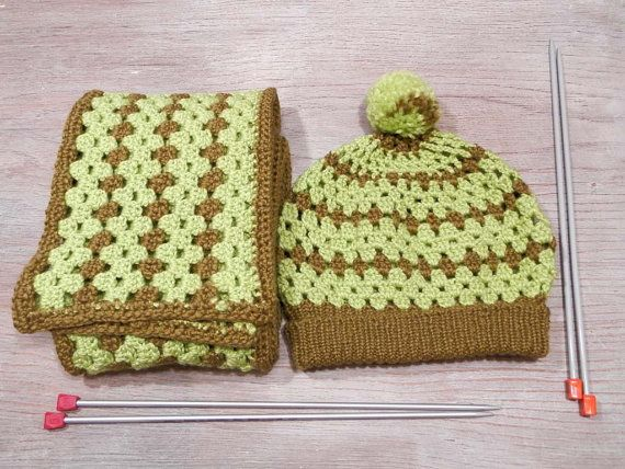 Hey, I found this really awesome Etsy listing at https://www.etsy.com/listing/251491060/crochet-set-of-beanie-and-scarf-neon