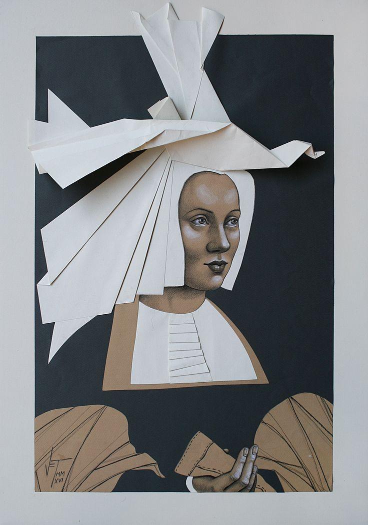 Vania Elelettra Tam - Origami Clitoridei - gallo cedrone - 2016 - 70x50 cm - tecnica mista su carta incollata su tela
