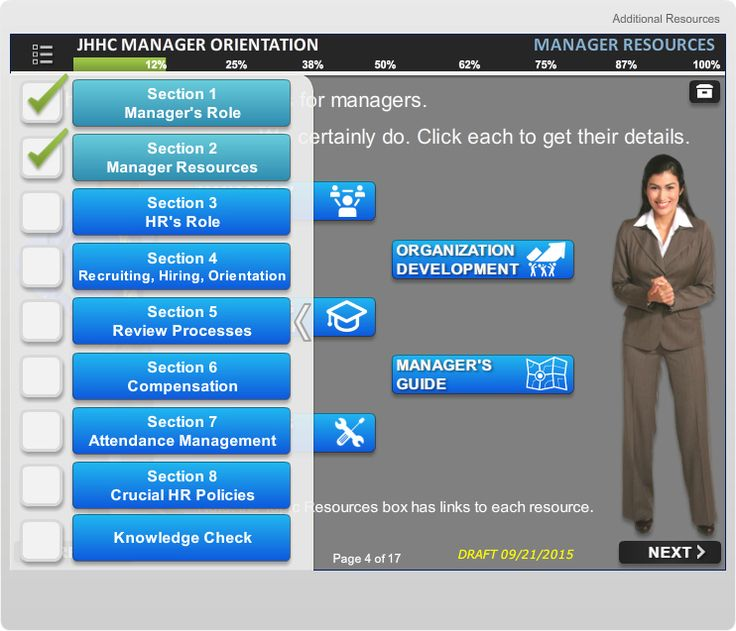 Screen from Manager Orientation course - Example of the course menu (custom made in Storyline)