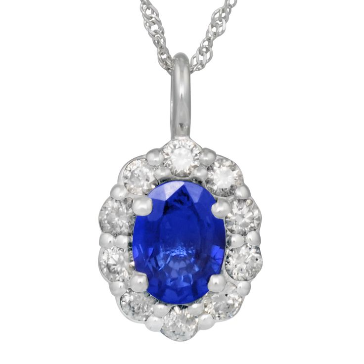 Blue Sapphire Necklace in 14kt White Gold with Diamonds (3/8ct tw)