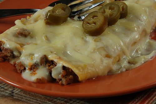Green Chili Enchiladas--made with ground beef