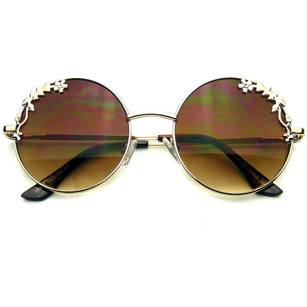 Womens Flower Floral Boho Round Mirror Sunglasses (£6.30) ❤ liked on Polyvore featuring accessories, eyewear, sunglasses, round hippie sunglasses, flower sunglasses, metal-frame sunglasses, rounded sunglasses and round metal frame sunglasses