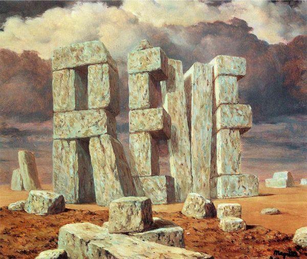 Reproduction de Magrittte, L'art de la conversation. Tableau peint à la main dans nos ateliers. Peinture à l'huile sur toile.