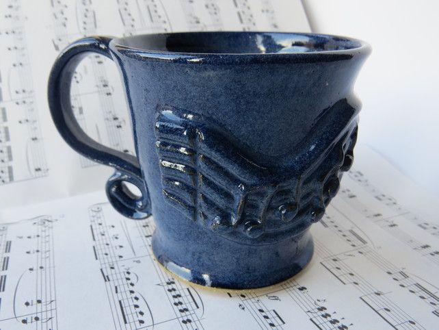 Music Beautiful Blue Mug  Ceramic Pottery