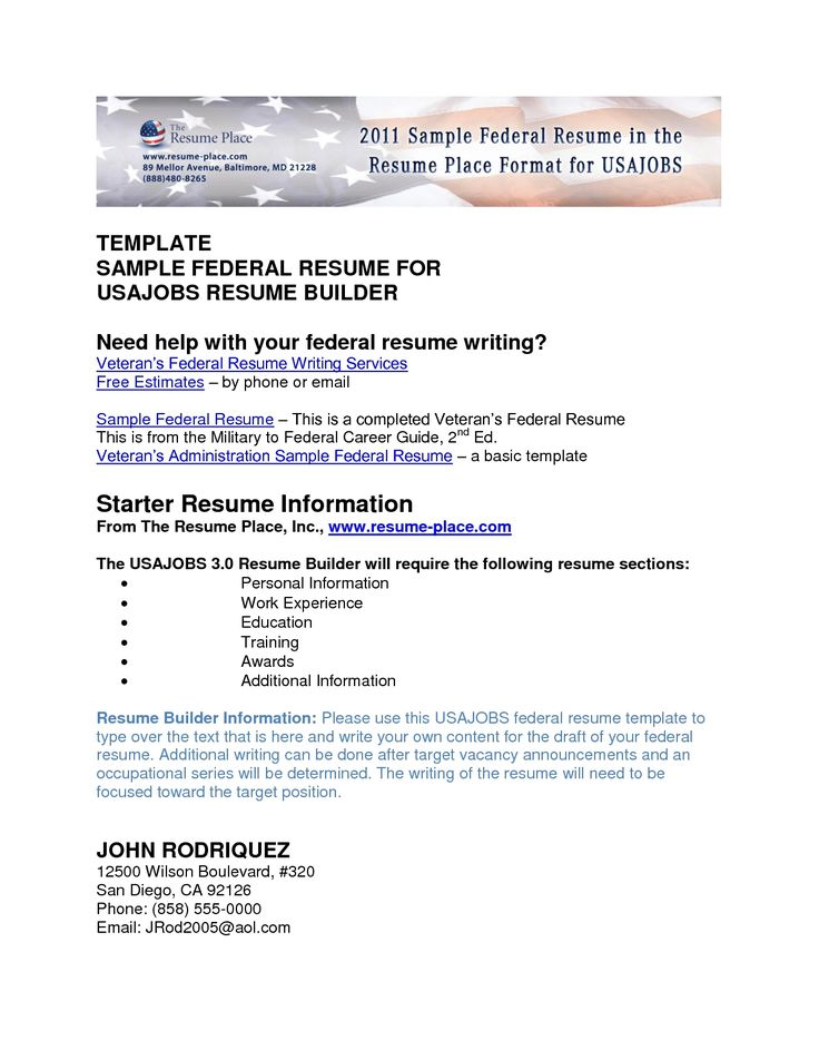 usajobs resume template usajobs resume sample free resume builder - Canadian Resume Builder