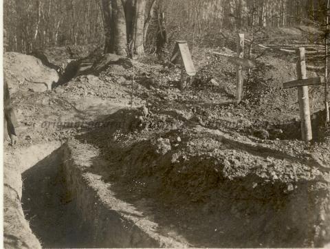 BU-F-01073-1-08750 Morminte pe marginea tranşeelor. Poiana lui Andrei, 1917.08.15 (niv.Document)