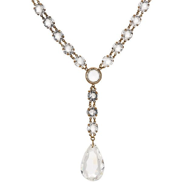 Stazia Loren Women's White Crystal Y-Chain Necklace ($4,850) ❤ liked on Polyvore featuring jewelry, necklaces, silver, white crystal necklace, crystal jewelry, chains jewelry, 1920s jewelry and 1920s necklace