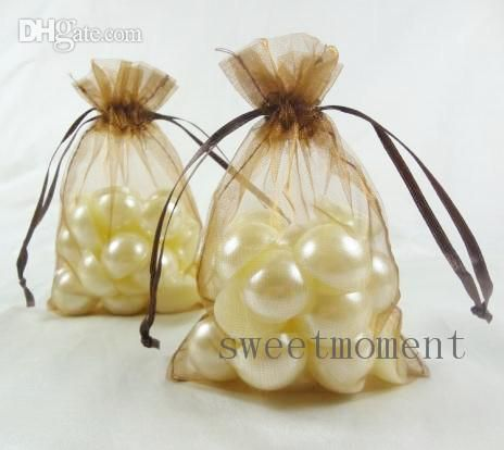 10cm x 15cm brown parti banquet de mariage sac organza, organza bonbons pouch, faveur, don faveur sacs