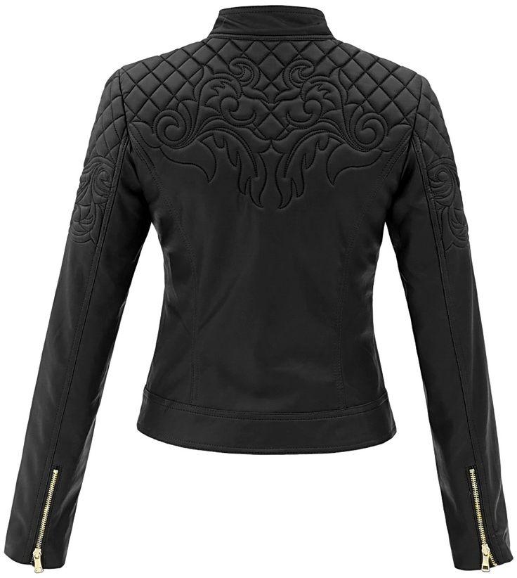 kurtka damska pilotka pikowana skóra na motor biker jacket ornamenty model #94 w sklepie fashionavenue.pl