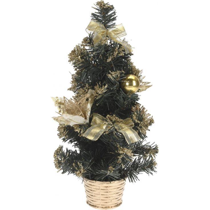 Mini kerstboom met gouden details 40 cm. Een kleine kunst kerstboom met goudkleurige versieringen. De kerstboom is circa 40 cm hoog.