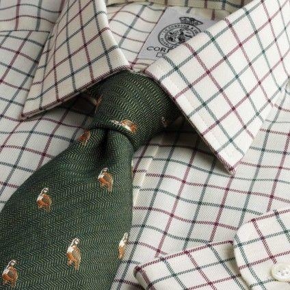 Green Wine Medium Check Tattersall Shirt from Cordings