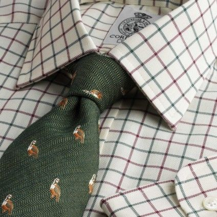 Green Wine Medium Check Tattersall Shirt from Cordings