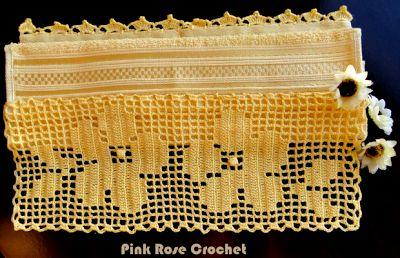 \ PINK ROSE CROCHET /: Barrado Flor Acácia Amarela em Crochê Filê