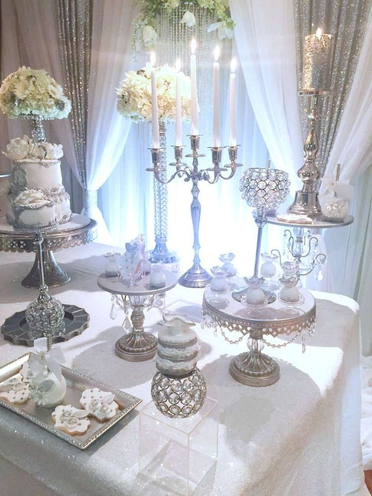 Love this silver and white anniversary party! See more party ideas at CatchMyParty.com!