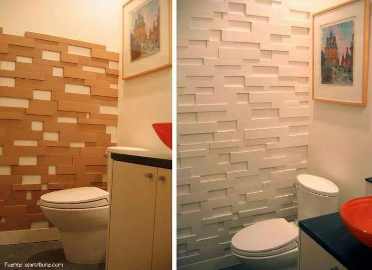 Con listones de madera superpuestos y pintura