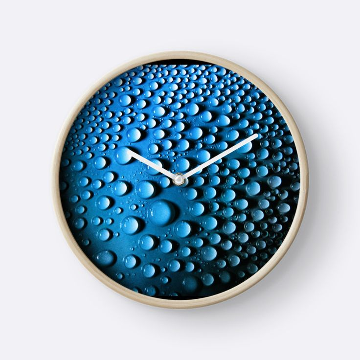 Droplets on a round shape by Silvia Ganora - #wallclock #clocks #abstract #droplets #homedecor