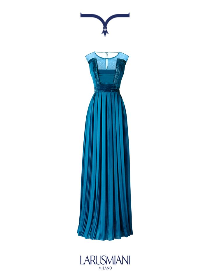 Blue peacock pleated evening #dress with velvet piping. Pure #glam. www.larusmiani.it #christmaswishlist #trueluxury