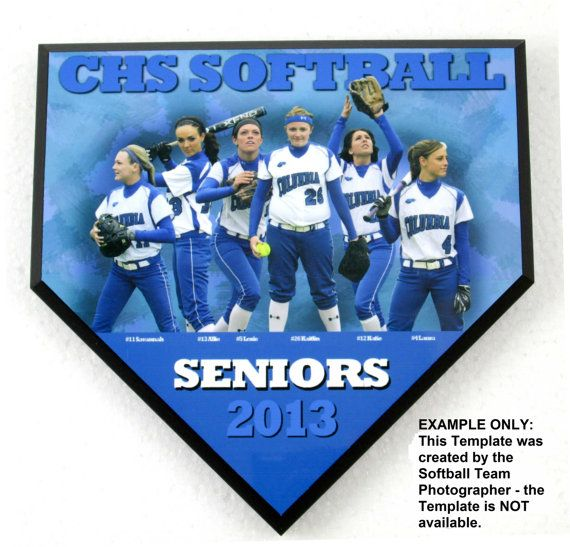 Personalized Team Photo Softball or Baseball Home Plate Plaque - Sports Gift - 5680-GR01