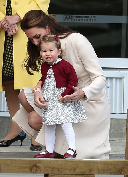 Catherine Duchess of Cambridge and Princess Charlotte of Cambridge are seen leaving from Victoria Harbour Airport on October 1 2016 in Victoria Canada