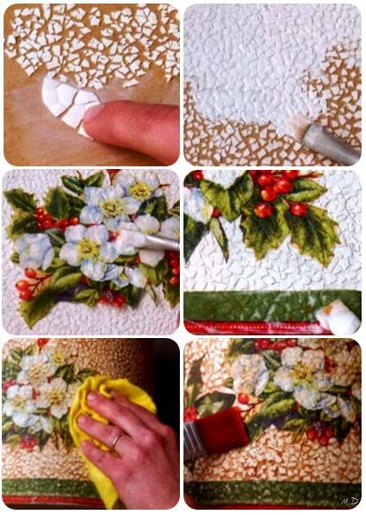 Como decorar con cáscaras de huevo y decoupage.