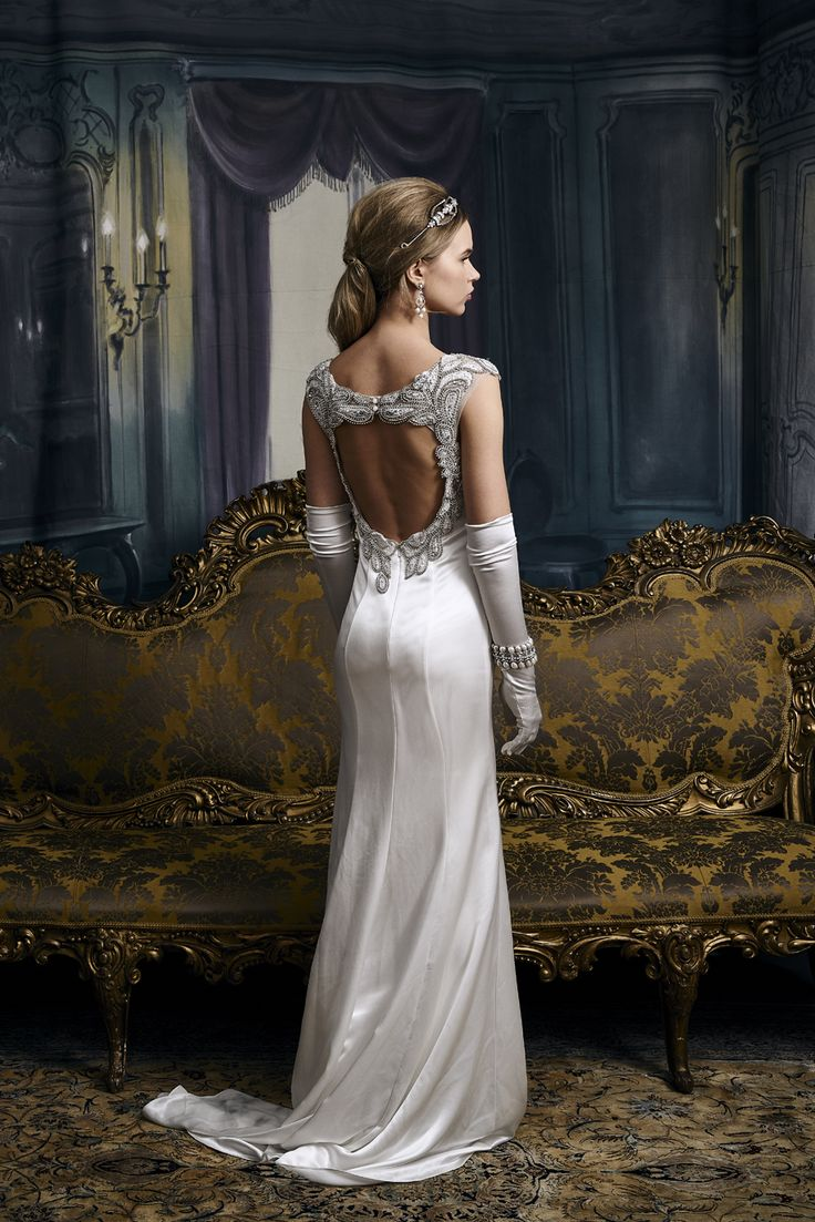 Unique Vintage inspired old school hollywood glamour beaded wedding dress by Eliza Jane Howell Try it on at a pop up one week only exclusive event at Miss Bush