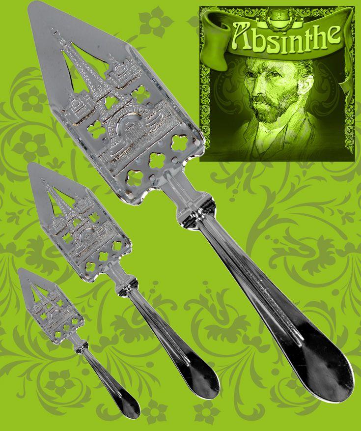 Snygg absintsked tillverkad i förkromat stål