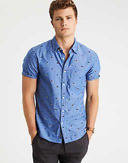 AEO Print Short Sleeve Poplin Shirt -