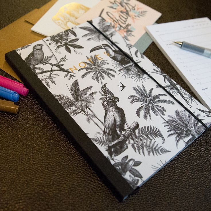 A softcover, but durable notebook with a jungle-patterned theme and gold foil details. Use this notebook for bullet journaling, writing notes, to-do lists, or as your trust sidekick in meetings or classes