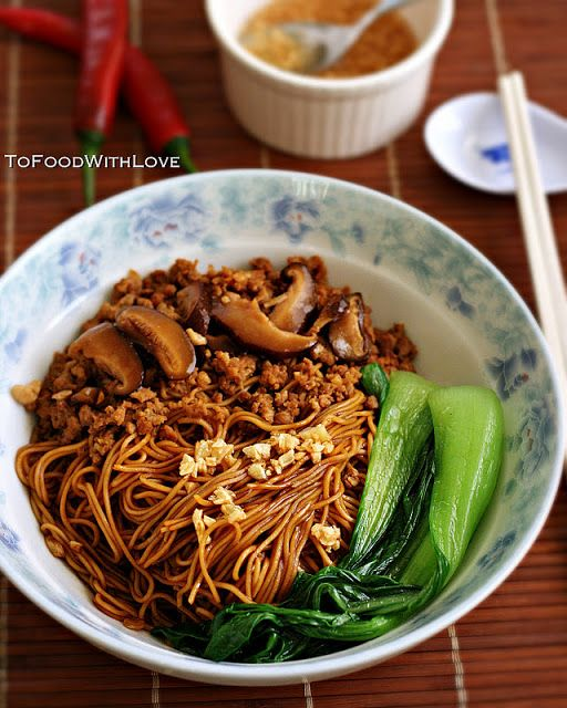 To Food with Love: Egg Noodles with Pork and Mushroom Sauce (Kon Loh Mee)