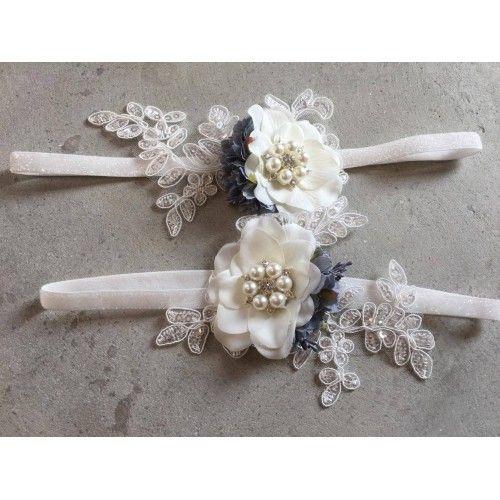 """""""Kimmie"""" Hvidt frostet hårbånd med smuk blonde applikation og blomster"""