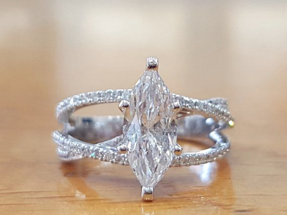 1 1 2 Carat Marquise Diamond Engagement Ring Marquise Engagement Rings Marquise Marquise Diamond Engagement Ring Wedding Ring 14k White Gold