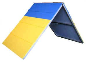 Mini A-frame, smaller version of the Aframe, more portable, good for small dogs and cat agility and mini agility equipment