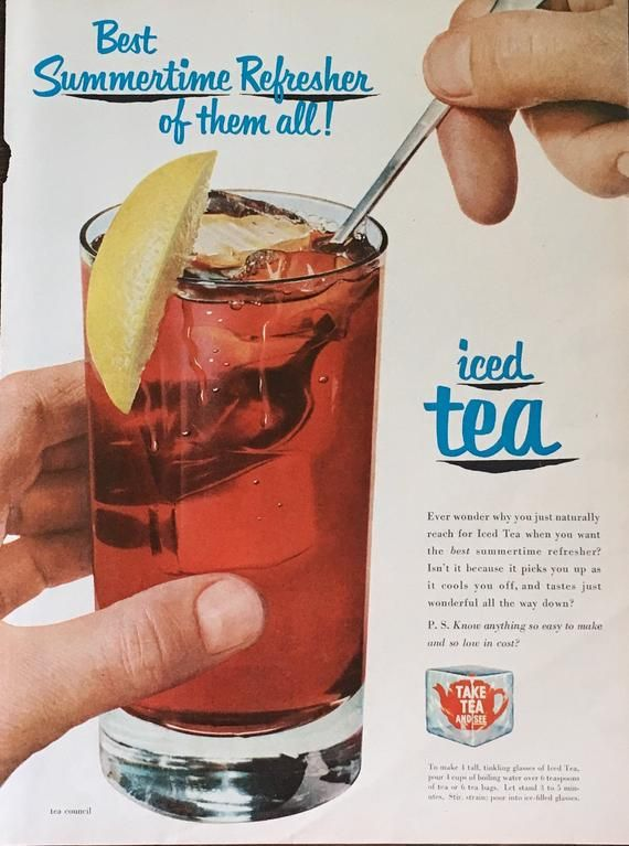 Iced Tea Advertisement With Recipe 1952 Original From Life