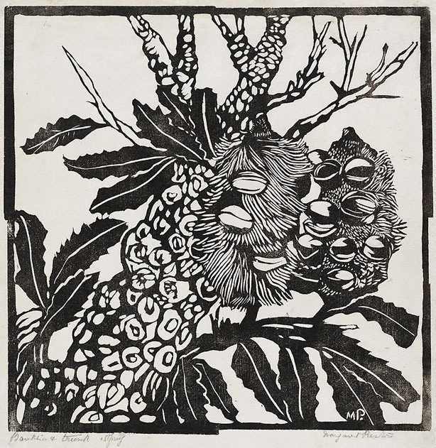 Thank you Margaret Preston for pioneering linocut in Australia.  Your Australian flora work is stunning.   Banksia and trunk, Circa 1935