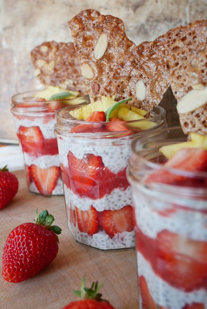 Coconut & Strawberry Chia Pudding with Almond Tuile (Vegan + GF)