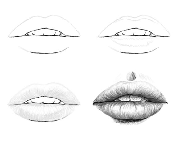 Sketch Tutorials: Lips (4 steps) by Laiany