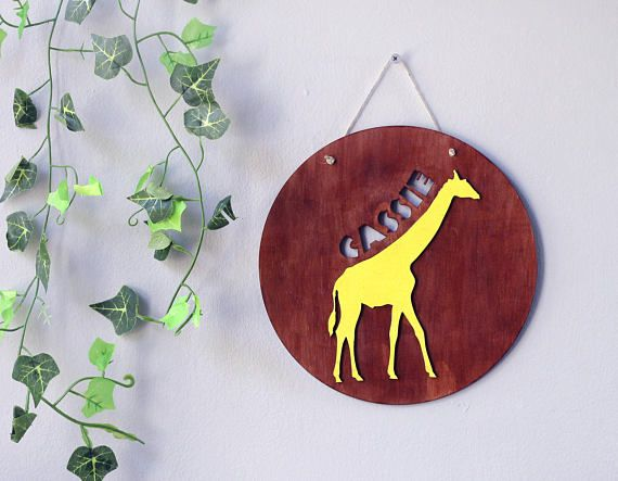 Animal Signs For Kids - Giraffe Name Signs - Wooden Name Sign - Nursery Decor - Personalized Baby Gift - Kids Room Decor - Name Signs