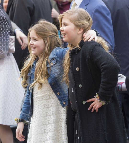 Princess Alexia (L) and Princess Catharina-Amalia of The Netherlands attend celebrations marking the 49th birthday of King Willem-Alexander on King's Day on April 27, 2016 in Zwolle, Netherlands.