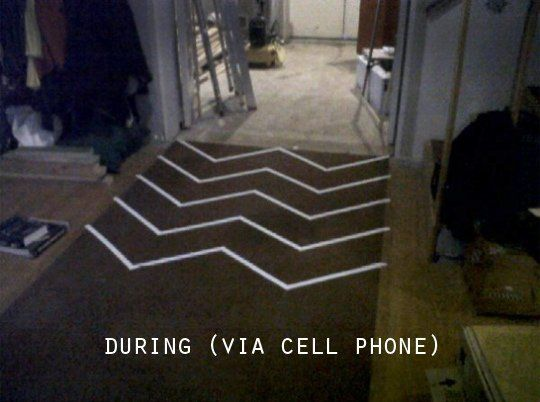 Before & After: Spray Painted Chevron Carpet