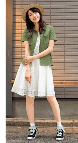 ミリタリーシャツにレースワンピの甘辛コーデ♪ ☆ティーンズのスタイル・ファッション コーデ集☆