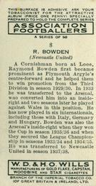 1939-40 W.D. & H.O. Wills Association Footballers #8 Raymond Bowden Back