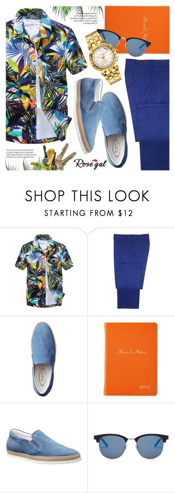 """Rosegal Hawaiian shirt for men"" by vn1ta ❤ liked on Polyvore featuring Gresham Blake, Graphic Image, Yves Saint Laurent, Versace, men's fashion and menswear"