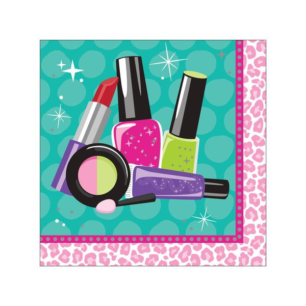 Descriptions Sparkle Spa Party Beverage Napkins - Design : Sparkle Spa Party Features - Girls Birthday Ships within 4 Business Days